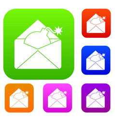 Envelope with bomb set collection vector