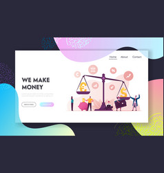 Euro vs dollar landing page template vector