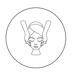 facial massage icon in outline style isolated on vector image