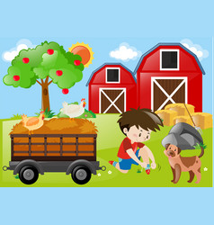 Farm scene with boy and dog in the field vector