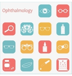 flat optometry icon set with long shadow vector image