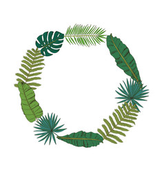 floral wreath collection with tropical leafs in vector image