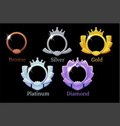 Frame game rank gold silver platinum bronze vector
