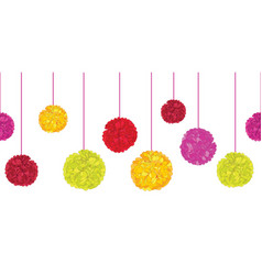 Fun colorful birthday party paper pom poms vector