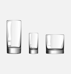 glass for shots glass for whiskey and glass cup vector image