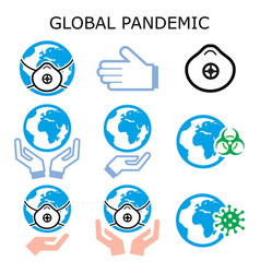 global pandemic color icons set vector image