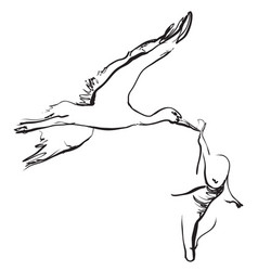 hand drawn cartoon stork is carrying the baby vector image