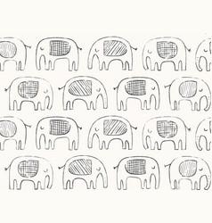 hand drawn elephant pattern doodle elephant vector image