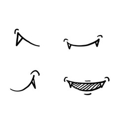 Hand drawn vampire mouth fang smile set isolated vector