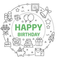 happy birthday linear vector image vector image