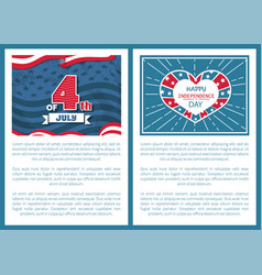 happy independence day 4th of july posters heart vector image