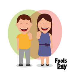 happy man and woman laughing fools day vector image