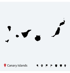 High detailed map of Canary Islands with vector
