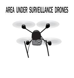 Image drone Caption area under surveillance vector