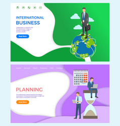 International business collaboration man on globe vector