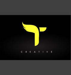 Letter t logo with yellow colors and wing design vector
