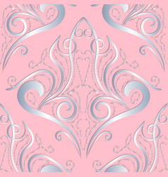 light pink vintage damask seamless pattern ornate vector image