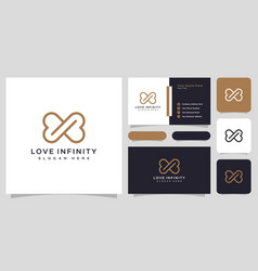 Love infinity logo line style and business card vector