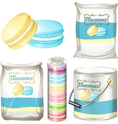 Macarons in different packaging vector image