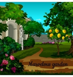 Magic garden with citrus tree and statuett vector