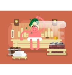 Man in the sauna steam vector