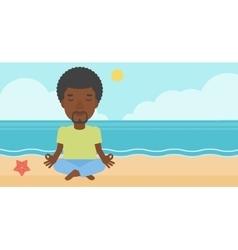 Man meditating in lotus pose vector image
