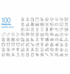 medicine outline iconset vector image