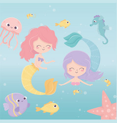 mermaids jellyfish octopus starfish fishes shrimp vector image