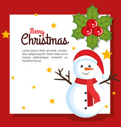 merry christmas happy snowman with gift box vector image