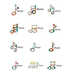 Music note logo set flat thin line geometric vector image