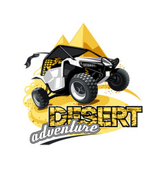 off-road atv buggy logo desert adventure vector image