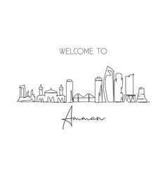 One single line drawing amman city skyline vector