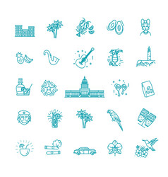 outline icons cuban culture vector image