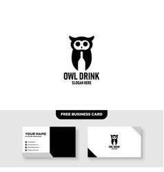 owl logo template free business card mockup vector image