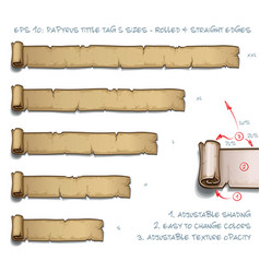 Papyrus tittle tag five sizes - rolled and vector