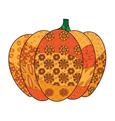 Pumpkin zentangle isolated on vector image
