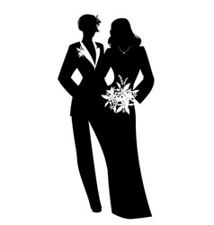 Queer wedding couple of newly married lesbian vector