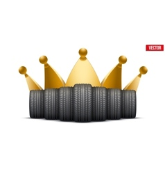 Realistic rubber tires banner with a golden crown vector