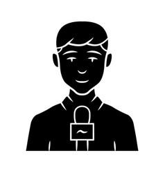 Reporter man glyph icon tv presenter interviewer vector