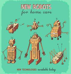 Retro robots hand drawing set animation vector