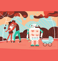 robot assistant walks with a bain park vector image