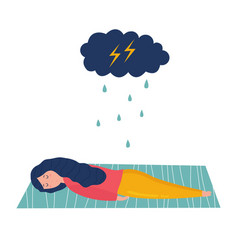 sad and depressed girl lying on the floor vector image