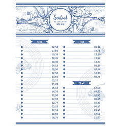 Sea food restaurant cafe menu design vector