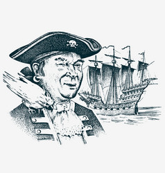 sea pirate portrait of the seaman hook against vector image