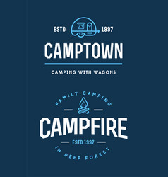 set camp logo with campfire and family trailer vector image
