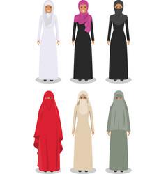 Set different standing arab women vector