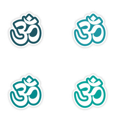 Set of stickers Indian om sign on white background vector