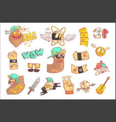 set of stylized rock themed stickers vector image