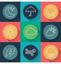 Set of weather flat icons vector
