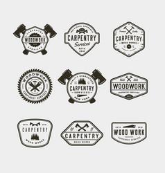 set vintage carpentry logos vector image